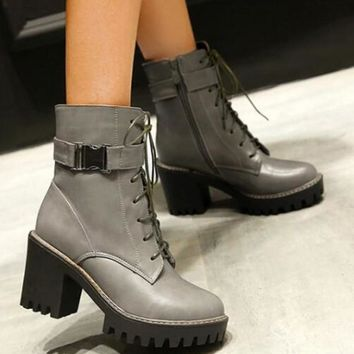 New Grey Round Toe Chunky Buckle Fashion Ankle Boots