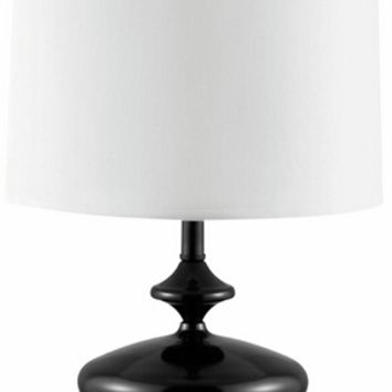 Oblong stacked circles design lacquered black finish metal table lamp with white drum lamp shade