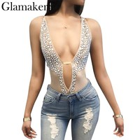 mesh jumpsuit romper Women shiny crystal beading bodysuit Backless v neck see-through rhinestone party bodysuit
