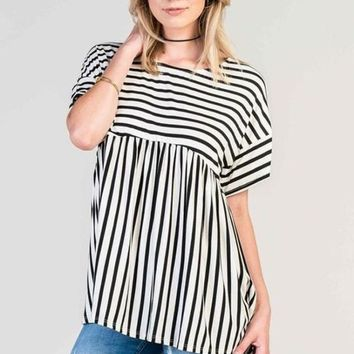 Beethoven Relaxed Striped Peplum Tunic