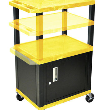 H. WILSON Rolling Mobile Multi purpose Storage Utility Cart with Lockable Cabinet Yellow Black Legs