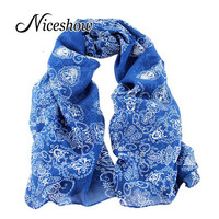 Charming Scarves Chinese Traditional Design Chiffon Pink Blue Colorful Floral Printed Scarf For Women New 2016 Fashion