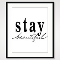 motivational wall decor inspirational quote print black and white art think positive vibes affirmation stay beautiful classy quote poster