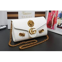 GUCCI fashion new casual wild bee small square bag shoulder slung chain bag F-WMXB-PFSH white