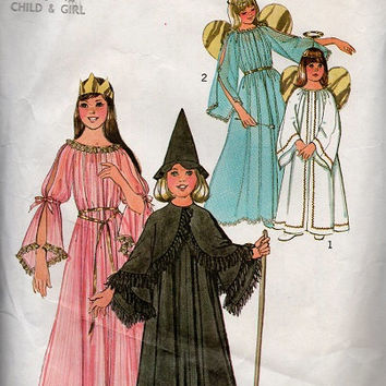 1970s Sewing Pattern Simplicity Halloween Costume Princess Angel Witch Robe Dress Halo Wings Hat Child Size Large
