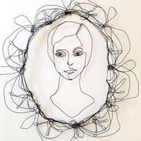 Wire wall art - face of woman in wire - modern art - Scultpure - ready to ship