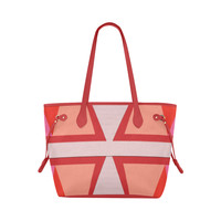 Shades of Red Patchwork Clover Canvas Tote Bag (Model 1661) | ID: D2794069