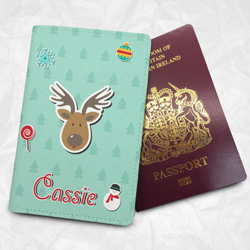 Christmas Personalised Custom Name Passport Cover Passport Holder with FREE Name Printing, Santa Claus's reindeer (BBS063)
