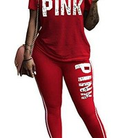 FEIYOUNG Women Pink Word Letter Print V Neck Sweatshirt Pantsuits Sweatpants Jumpsuits