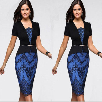 Womens 2015 New Elegant Belted Colorblock Floral Lace Tunic Wear To Work Business Casual Party Pencil Dress = 1956612420