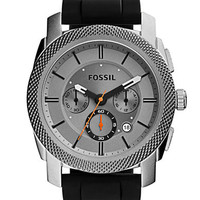Fossil Mens Machine Stainless Steel Watch with Silicone Strap