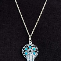 Dreamcatcher Necklace - Silver with Turquoise Stones from Black Tied