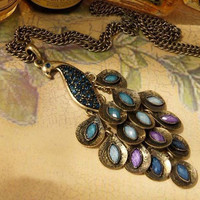 Lovely Peacock Necklace colorful crystal by sweethearteverybody