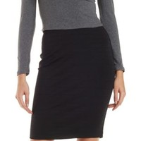 Black Ribbed Pencil Skirt by Charlotte Russe