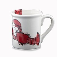 SHARD Pottery Down East Main Lobster Hand Painted Coffee Mug Set - Set of 2 12-oz Mugs