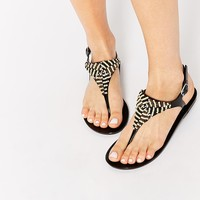 Truffle Collection Bead Toe Post Jelly Flat Sandals