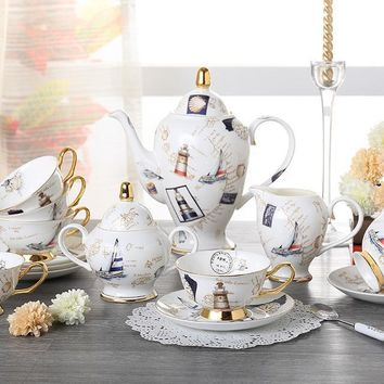Elegant Logbook Bone China Coffee and Tea Set