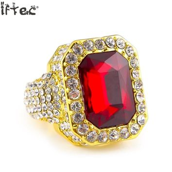 Iftec Men's Gold Color Hip Hop Iced Red Cz Ring Size Available Luxury Woman Ring Mens Fashion Finger Bling Hip Hop Ring On Sale