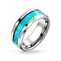 Bling Jewelry Mens Blue Inlay Tungsten Wedding Band Ring