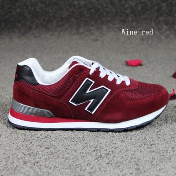 """""""New balance""""Running shoes leisure shoes gump sneakers lovers shoes n words Wine red"""