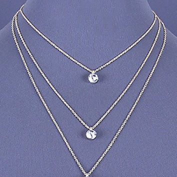 Womens Jewelry, Gold Tone Layered Necklace with Clear Crystal Accents. Length: 21 Inches.