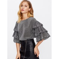 Pearl Beading Tiered Sleeve Glitter Top Grey
