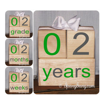 Photography Prop.  Pregnancy/Baby announcement. Baby shower gift. Monthly milestones. Baby Shower Nursery Decor. Milestone Blocks.Grey Green