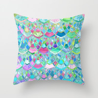Art Deco Watercolor Patchwork Pattern 2 Throw Pillow by Micklyn