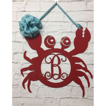 SEBASTIAN: Crab Monogram Front Door Hanger/ Wall Decor