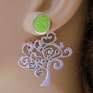 Green Tree Earrings Shamrock Earrings Front Back Earrings 3 Ways Green Druzy Stud Earrings Reverse Art Nouveau Tree Jewelry Stain Glass