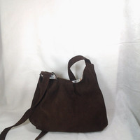 Brown Microsuede Medium Size Handbag Purse Tote