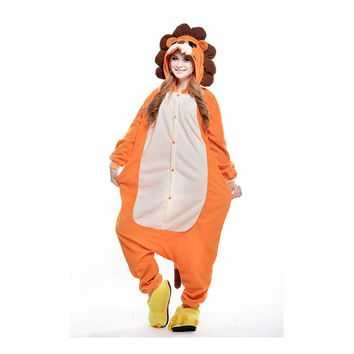 Unisex Adult Pajamas  Cosplay Costume Animal Onesuit Sleepwear Suit  lion