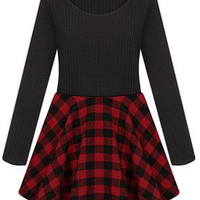 ROMWE | ROMWE Panel Checkered Pleated Hem Red Dress, The Latest Street Fashion