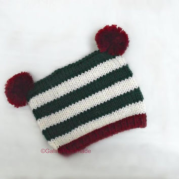 Christmas Baby Hat,Newborn Christmas Hat,Toddler Fun Striped hat,Christmas Gift,Pom Pom,Red,White,Green