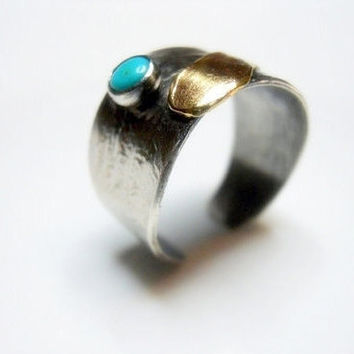 Turquoise and Brass Feather on Sterling Silver Open Band Ring, Cuff Ring, Bohemian, Native American, Southwestern Women's Wide Band Ring