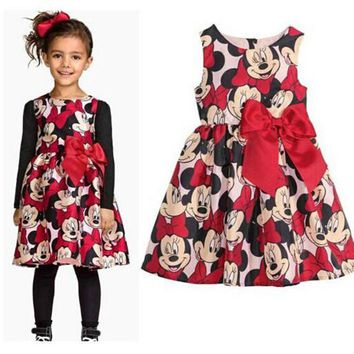 2-7Y New 2015 Summer Girl Dress Minnie Mouse Dress For Girls Printed Party Dress For Children Kids Polka Dot Baby Girl Clothes