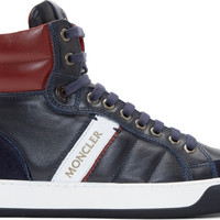 Navy & Burgundy Leather High-Top Sneakers