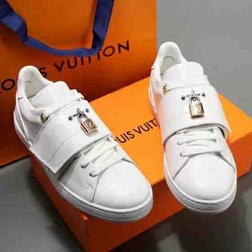 Copy of LV Louis Vuitton women's shoes White shoes Frontrow sports shoes 18 new old flowers Velcro white shoes B-ALS-XZ Blue