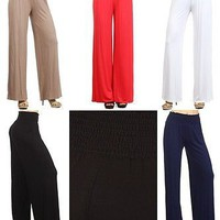 Sexy High Waist Smocked Waistband Flared Wide Leg Palazzo Pant Trouser Loose Fit