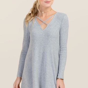 Angie X Neck Knit Dress