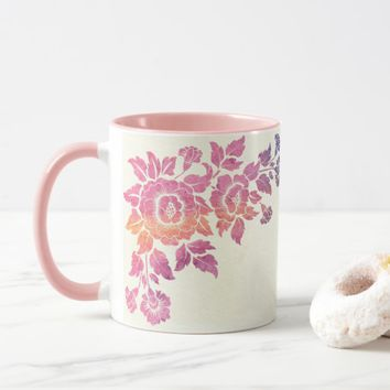 Pink Watercolor Floral Mug