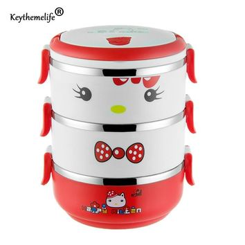 Keythemelife Hello kitty Multilayer Lunch Boxs Food Thermo for Kids Cartoon Thermal Bento Lunchbox 304 Stainless Steel D1