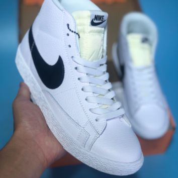 HCXX N367 Nike Blazer Mid Leather Casual Skate Shoes White Black