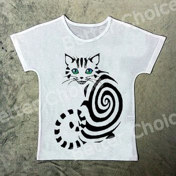 Track Ship+New Printed Retro Vintage T-shirt Top Tee Simple Black Alice in Wonderland Cheshire Cat 1339