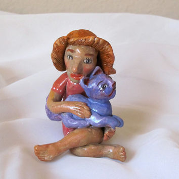 Cat Lover  Polymer Clay Sculpture Figurine  by RenaissanceDays
