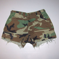 Camo Camouflage Shorts Cut Off US Military Small