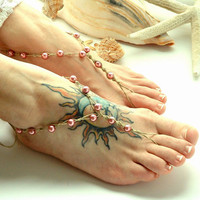 Pink Rose Barefoot Sandals Bridesmaids Hippie Shoe Toe Thong Beach Wedding Hemp Barefoot  Jewelry