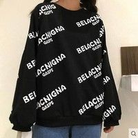 balenciaga women fashion print top sweater pullover 2