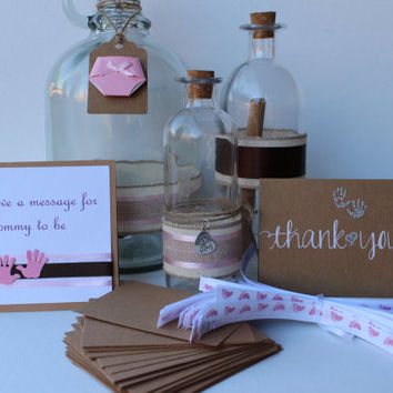 Message in a Bottle -  Baby shower, Baby shower decorations, Thank you Cards
