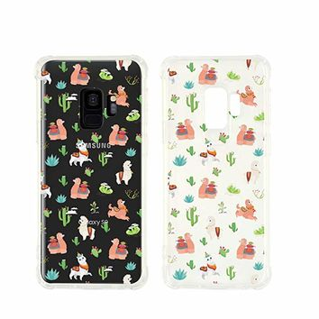 Cute Llama Pattern Transparent Silicon Plastic Phone Case For Samsung Galaxy S9 Samsung Galaxy Covers Emerishop (Samsung S9)